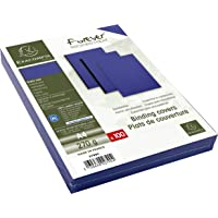 EXACOMPTA 2790C Un paquet de 100  couvertures FOREVER en carte rigide grain cuir 21x29,7 cm 270 g  BLEU foncé