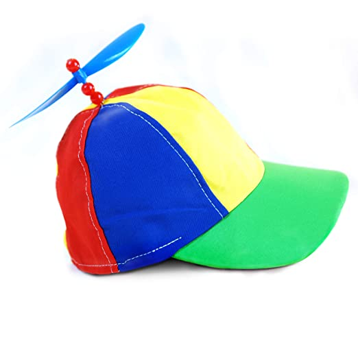 ac9513b52a557 Amazon.com  Rainbow Propeller Spinner Hat - One Size with Adjustable Hat  Snap Back - Costume Accessory - Fits Most  Clothing