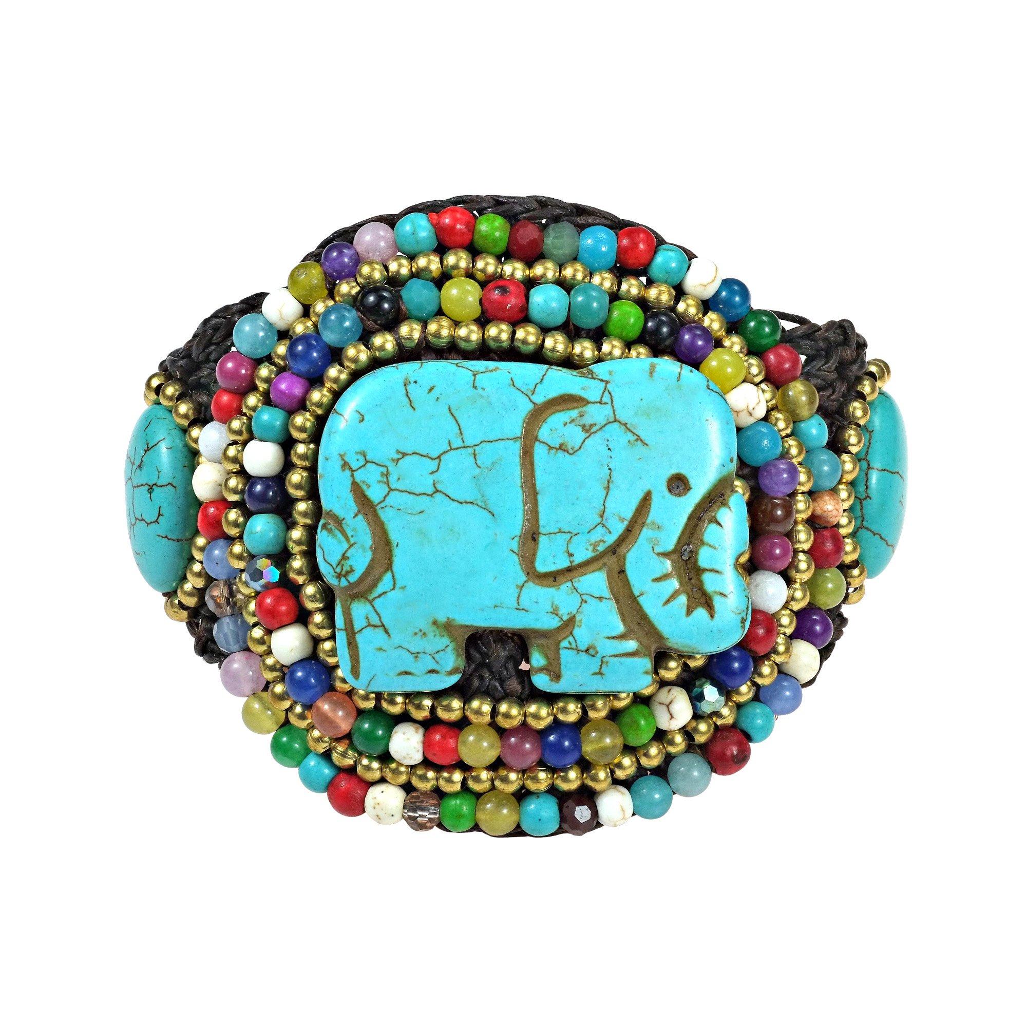 AeraVida Regal Elephant Simulated Turquoise & Mix Stone Cotton Wax Rope Adjustable Wrist Pull Bracelet