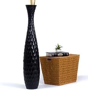 Leewadee Tall Big Floor Standing Vase for Home Decor 44 inches, Mango Wood, Black