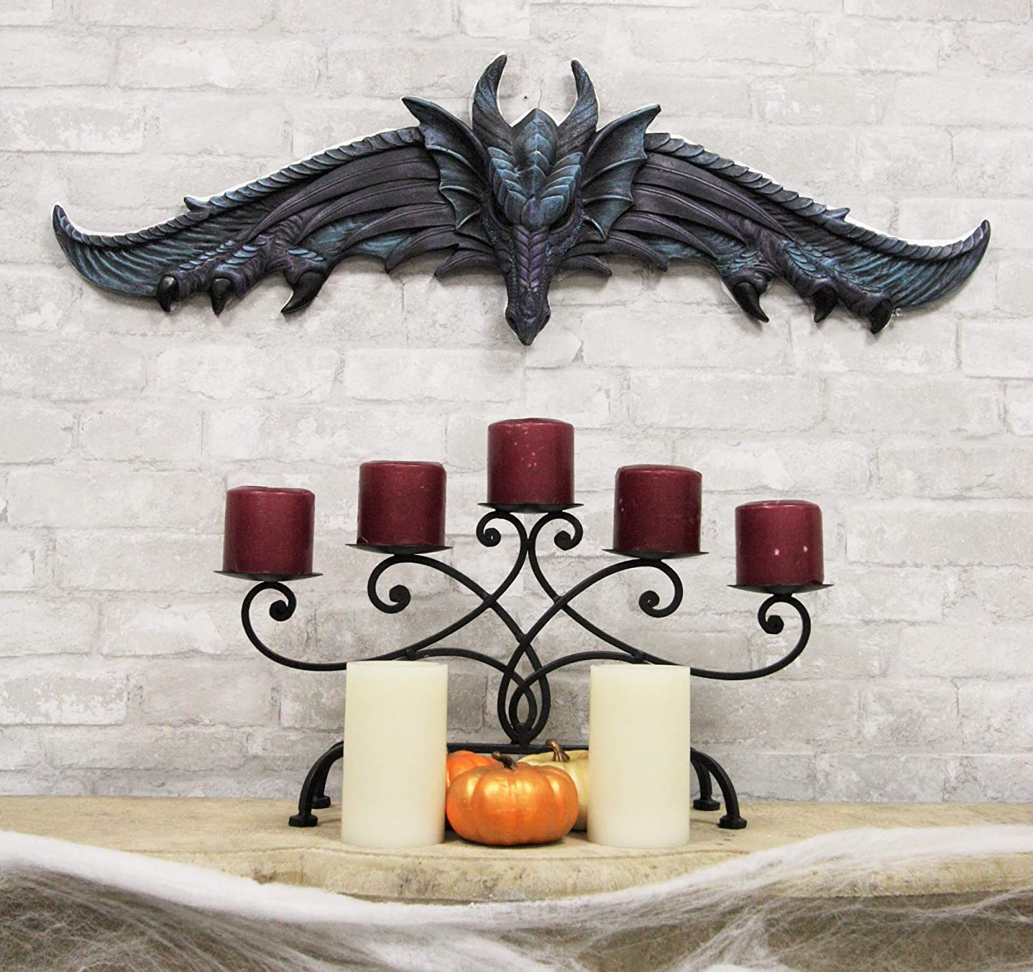 """Ebros Large 34.25""""Wide Medieval Fantasy Midnight Blue Blood Overwatch Dragon With Open Wings Wall Decor Plaque Entrance Overdoor Pediment Door Hanger Dragons And Dungeons Halloween Wall Art Decorative"""