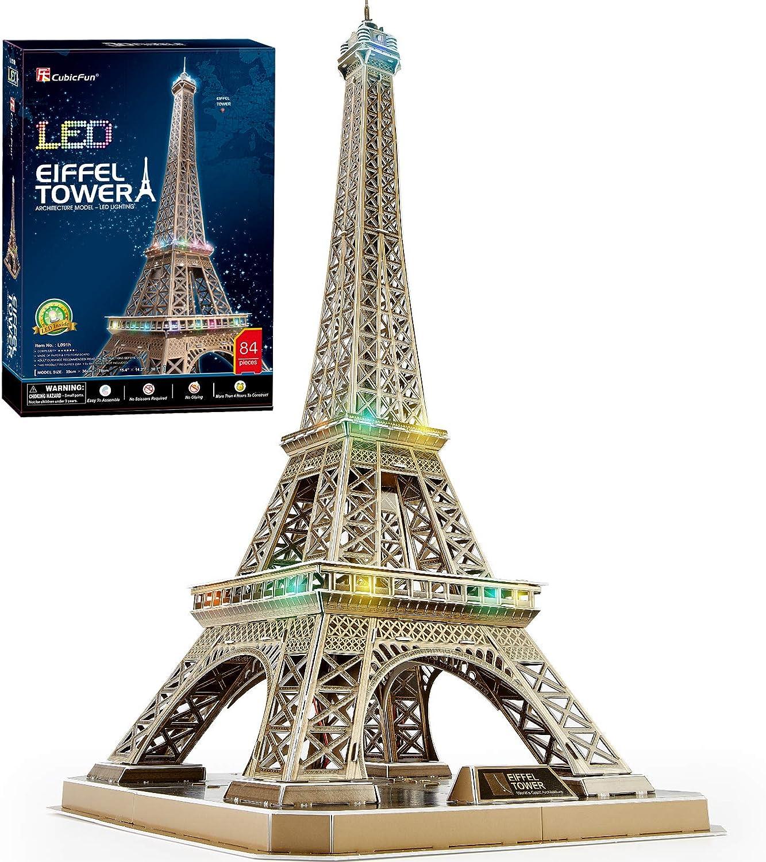 CubicFun Rompecabezas 3D Francia LED Arquitectura Modelo Kits de Construcción Puzzles 3D para Adultos, DIY Papercraft Lighting Paris Eiffel Tower Regalo de Decoración Juego de Juguete, 82 Piezas