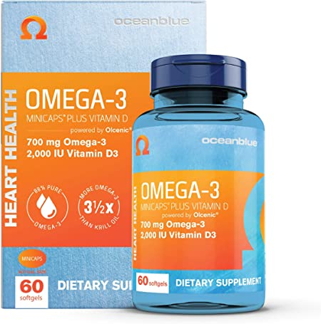 Oceanblue Omega-3 Minicaps with Vitamin D3 – 60 ct – Small Easy to Swallow Burpless Omega-3 Fish Oil Supplement with an Ideal Daily Dose of EPA and DHA – Wild-Caught – Vanilla Flavor (30 Servings)