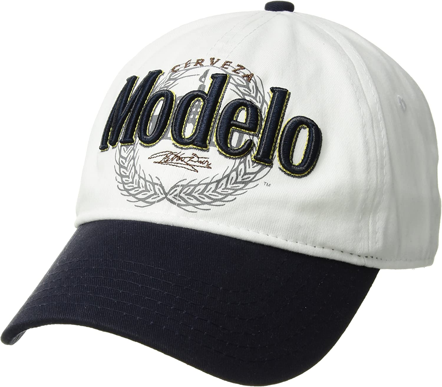 Corona Men's Cerveza Modelo Baseball Cap, Embroidered Emblem, Adjustable, White, one Size