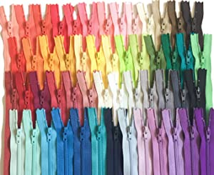 YKK Zippers Assorted Colors Pack 12 Inch Number 3 Nylon Coil Set of 110 Pieces