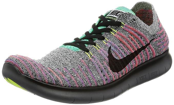 RN Flyknit Nike Hommes Chaussures de course libre blanc/noir-TOTAL CRIMSON- lagon