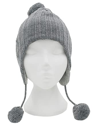 c79276564c2 Girls Glittery Knitted Peru Hat With Pom Poms 3 Colors SSP (Grey)   Amazon.co.uk  Clothing