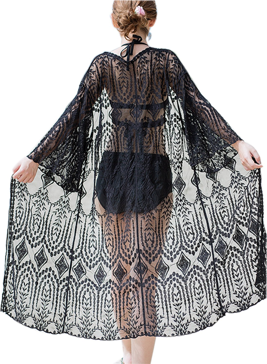 VenuStar Lace Jacket Kimonos Cardigan for Women Long Sleeve Cover up Embroidered Lace with tie(One Size, X-Black)