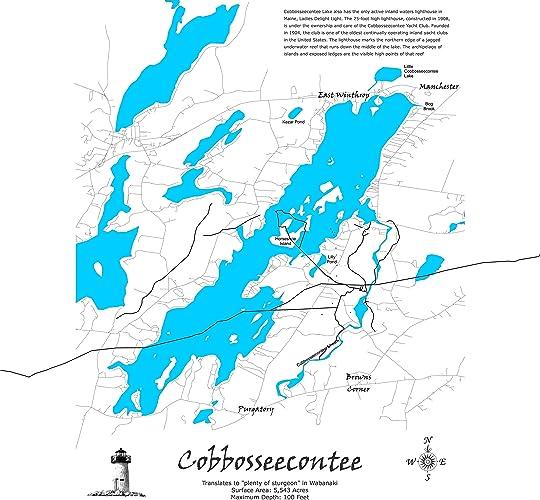 Amazon Com Cobbosseecontee Lake Maine Standout Wood Map Wall