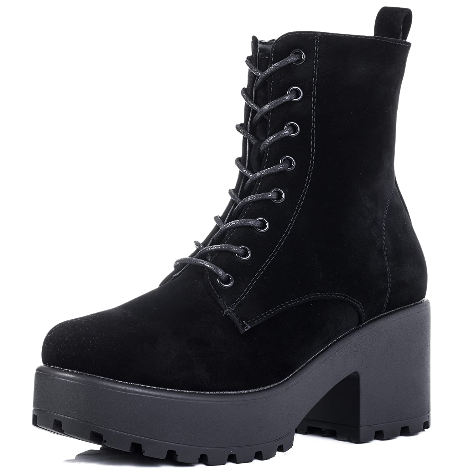Spylovebuy Shotgun Block Heel Cleated Sole Lace up Platform Ankle Boots B077TWYPMX 10 B(M) US|Black Suede Style