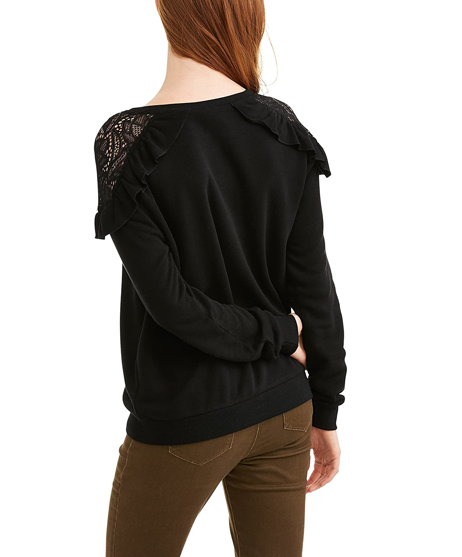 Self Esteem Juniors Ruffle Lace Shoulder Pullover Sweater