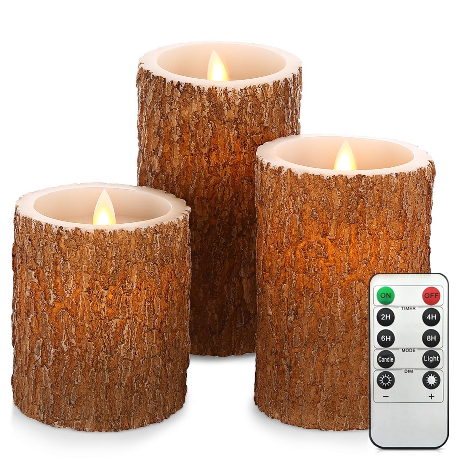 weGarden 213183701-US Flameless Candles, Real Wax Battery Operated Led Flickering Bark Simulation Pillar and Cycling 24 hours Timer, Set of 3