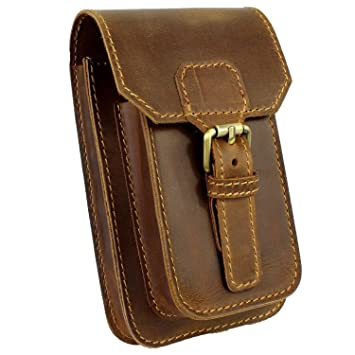 d58497b72ea9 Amazon.com | LXFF Mens Genuine Leather Small Hook Waist Bag Belt Pouch  Fanny Pack for Cell Phone (Brown - B) | Waist Packs