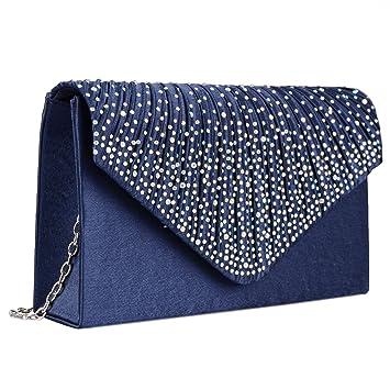Cartera de Mano para Mujer Bolso de Fiesta Boda Salidas Bolso de Satén tipo clutch (Azul): Amazon.es: Equipaje