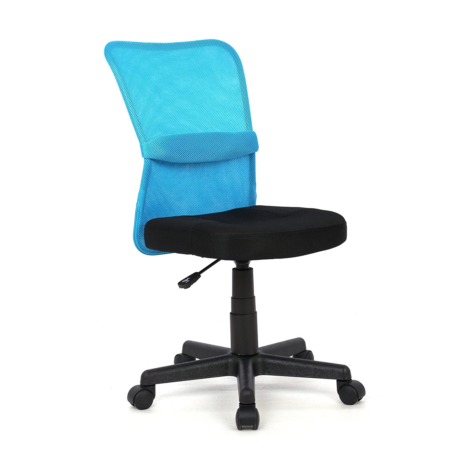 Moustache Fabric 360 Swivel Desk Computer Chair Adjustable with Wheels, Mid-Back & Padded Cushioned Seat, Armless (Blue)