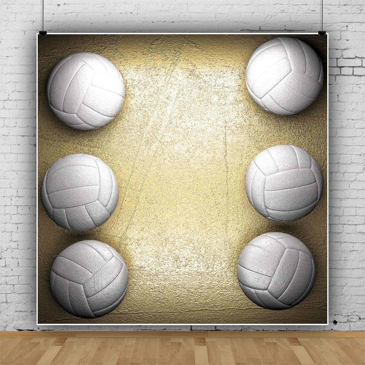 YEELE 5x5ft White Volleyball Photography Backdrop Kids Birthday Party Background Sport Theme Baby Shower 1st First Birthday Party Decoration Baby Toddler Boys Artistic Portrait Photo Booth Props