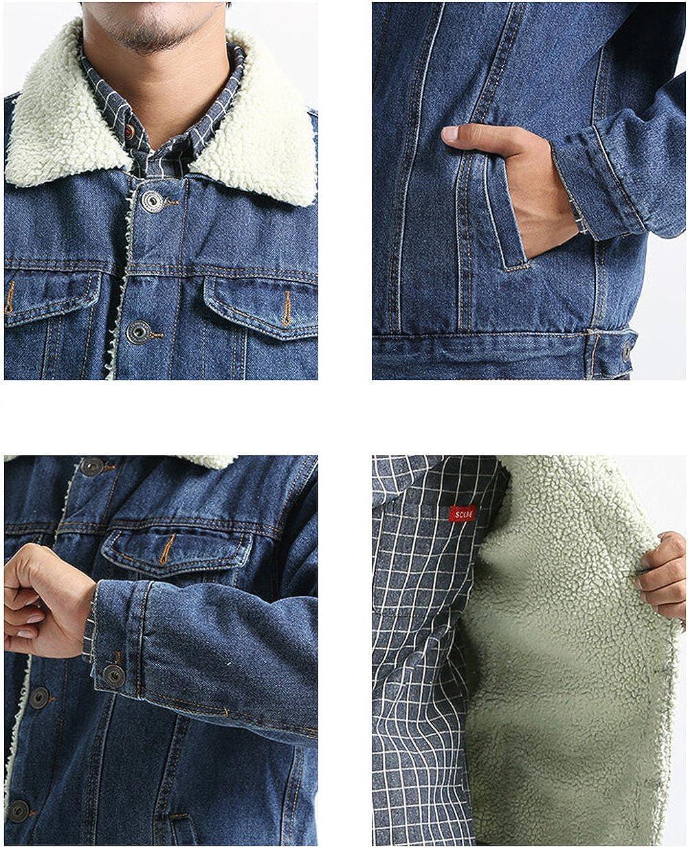 Kedera Mens Winter Fleece Lined Fur Collar Denim Jacket Coats