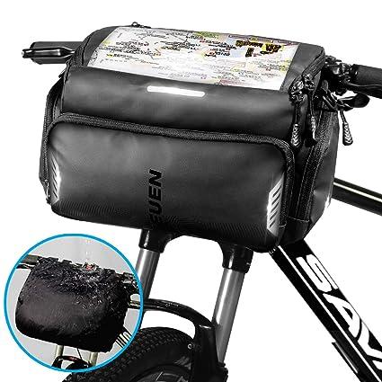 TEUEN Bolsa Manillar Bicicleta Impermeable Bolsa Delantera Bici Montaña con Pantalla Táctil para Movil GPS, 4L Bolsas para Manillar de Bicicleta ...