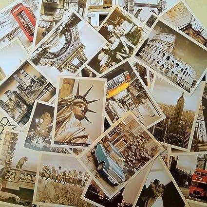EUGU 32 piezas 1 set Vintage retro postales antiguas de viaje para ...