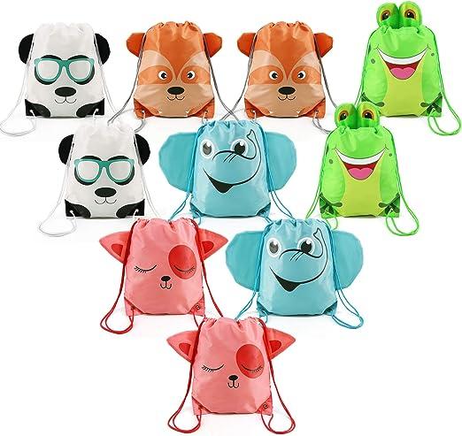 LIHI BAG 10 Pack Kids Nylon Party Supplies Favors Gift Drawstring Backpack Bags,Giraffe