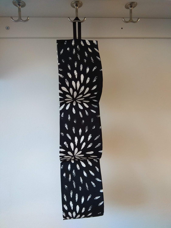 Large Toilet Roll Holder bath decor black print fabric storage