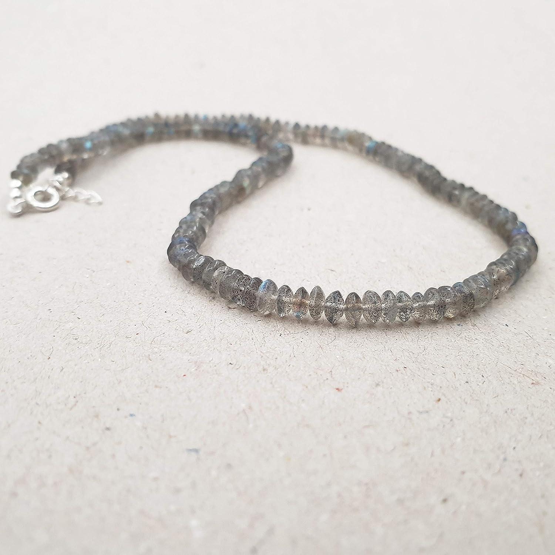 Dainty necklace sterling silver chain LABRADORITE gemstone drop