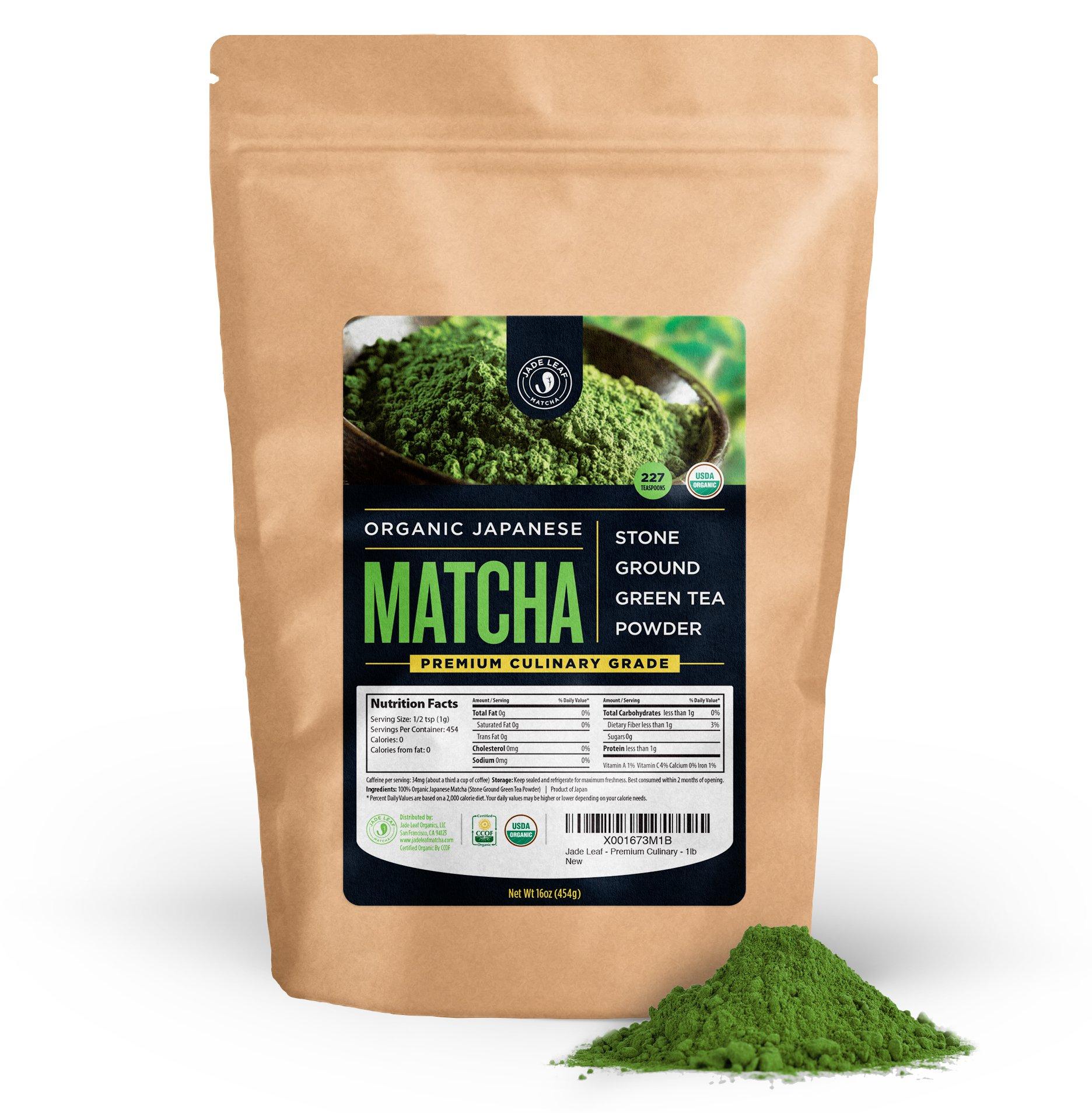 Jade Leaf - Organic Japanese Matcha Green Tea Powder, Premium Culinary Grade (Preferred By Chefs and Cafes for Blending & Baking) - [1lb Bulk Size] by Jade Leaf Matcha