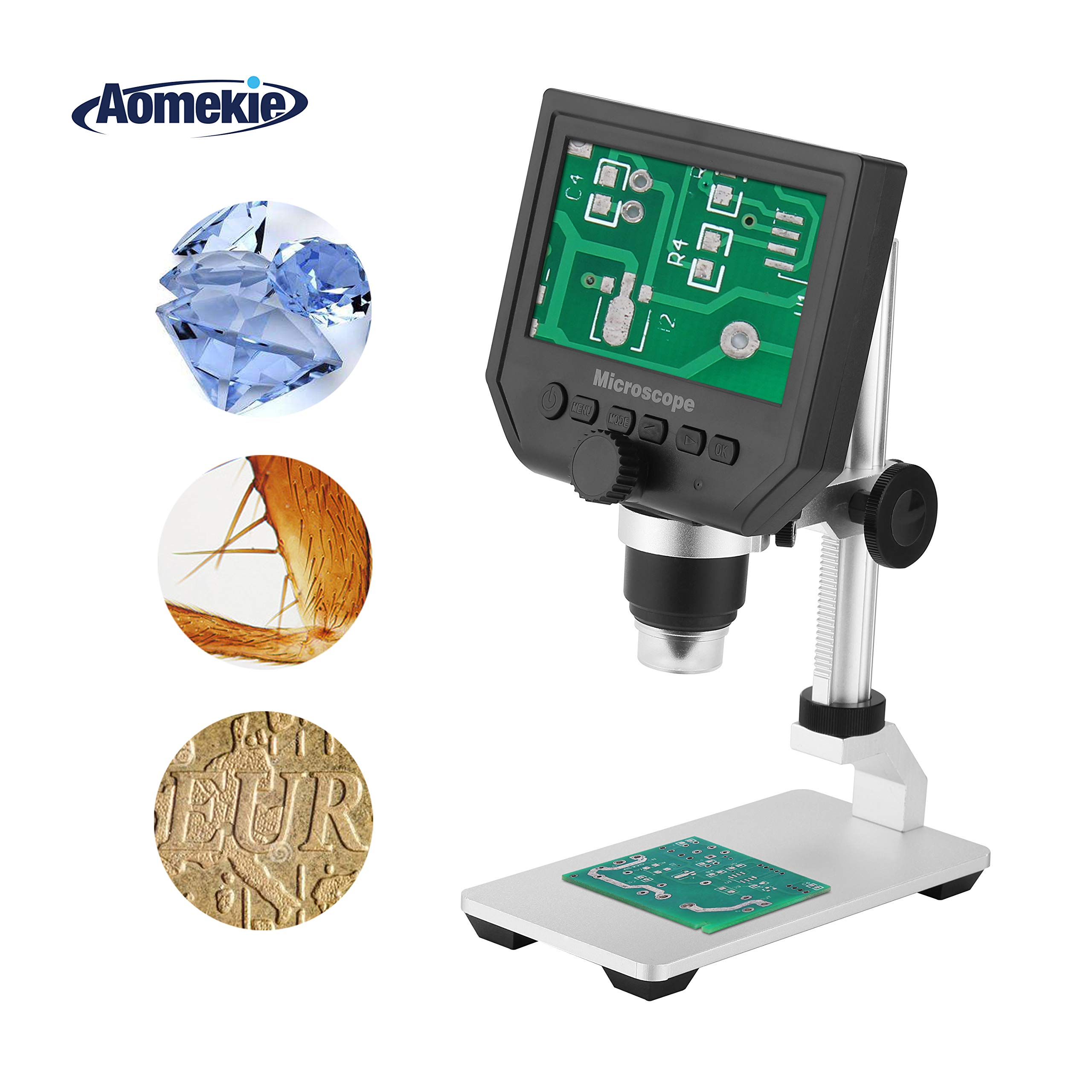 Aomekie LCD Digital Microscope with 4.3'' Screen 1080P Soldering Microscopes 1-600X Zoom with 8 LED Adjustable Light and Rechargeable Lithium Battery for Cellphone PC Circuit Board SMD Repair by AOMEKIE