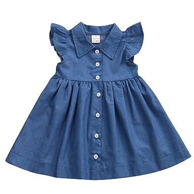 f819c80b55 Cute Baby Girls Kid Toddler Denim Dress Summer Ruffle Sleeve Outfit Short  Mini Dress Girls Clothing
