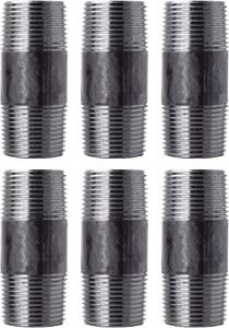"""Pipe Decor 1"""" x 3"""" Malleable Cast Iron Pipe, Pre Cut Connector, Industrial Steel Grey Fits Standard One Inch Black Threaded Pipes Nipples and Fittings, Build Vintage DIY Furniture, One Inch, 6 Pack"""