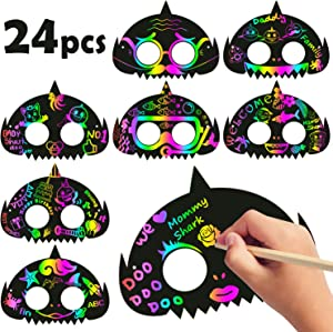 MALLMALL6 24Pcs Little Shark Mask Rainbow Scratch Shark DIY Masks Party Favors Color Reveal Scratch Paper Sharks Theme Birthday Party Games Supplies Dress Up Costumes Crafts Kit for Boys Girls