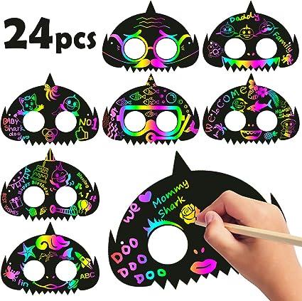 Amazon.com: MALLMALL6 - 24 máscaras de tiburón arcoíris ...