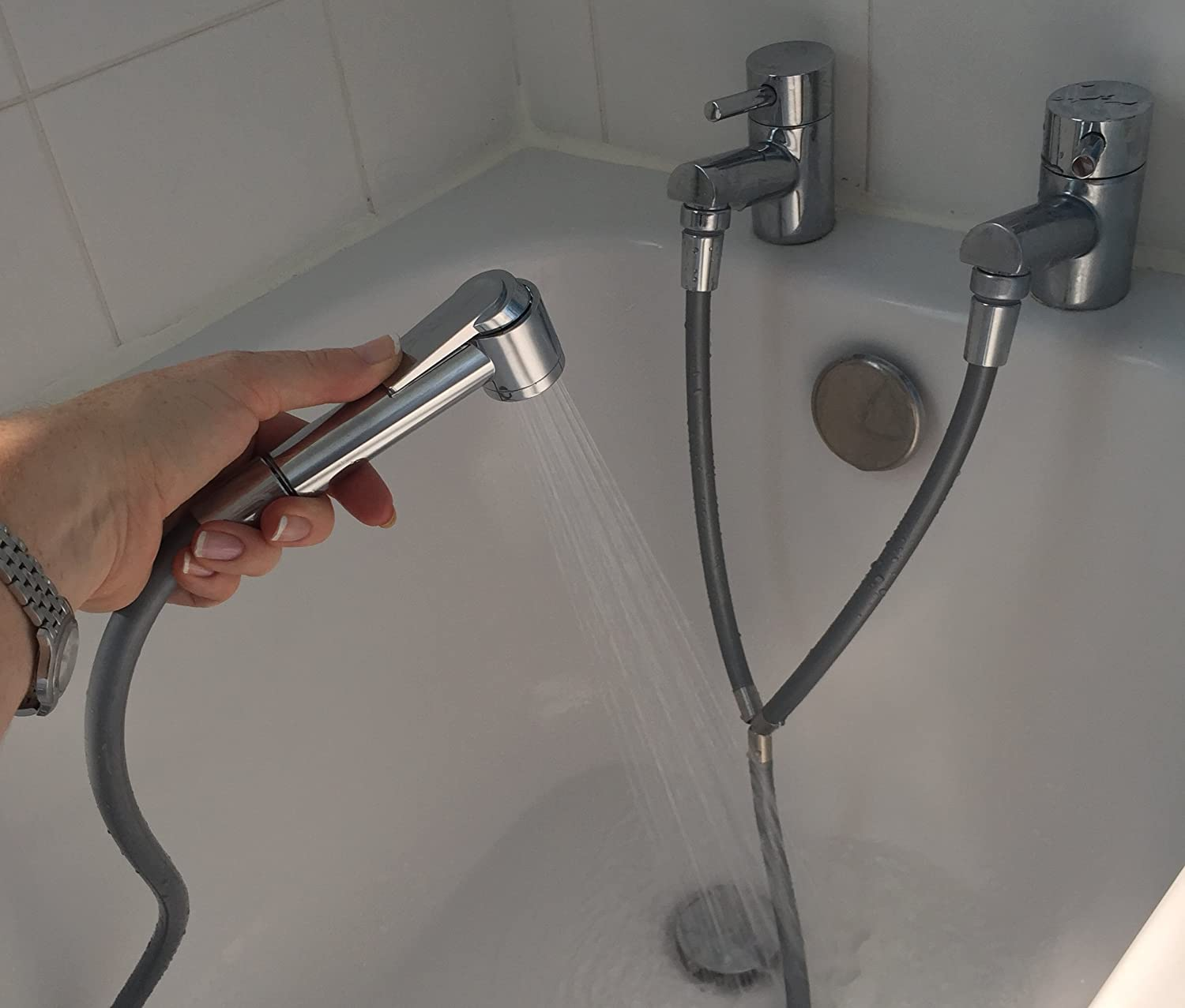 Turn your separate hot and cold bath or basin taps into a shower ...