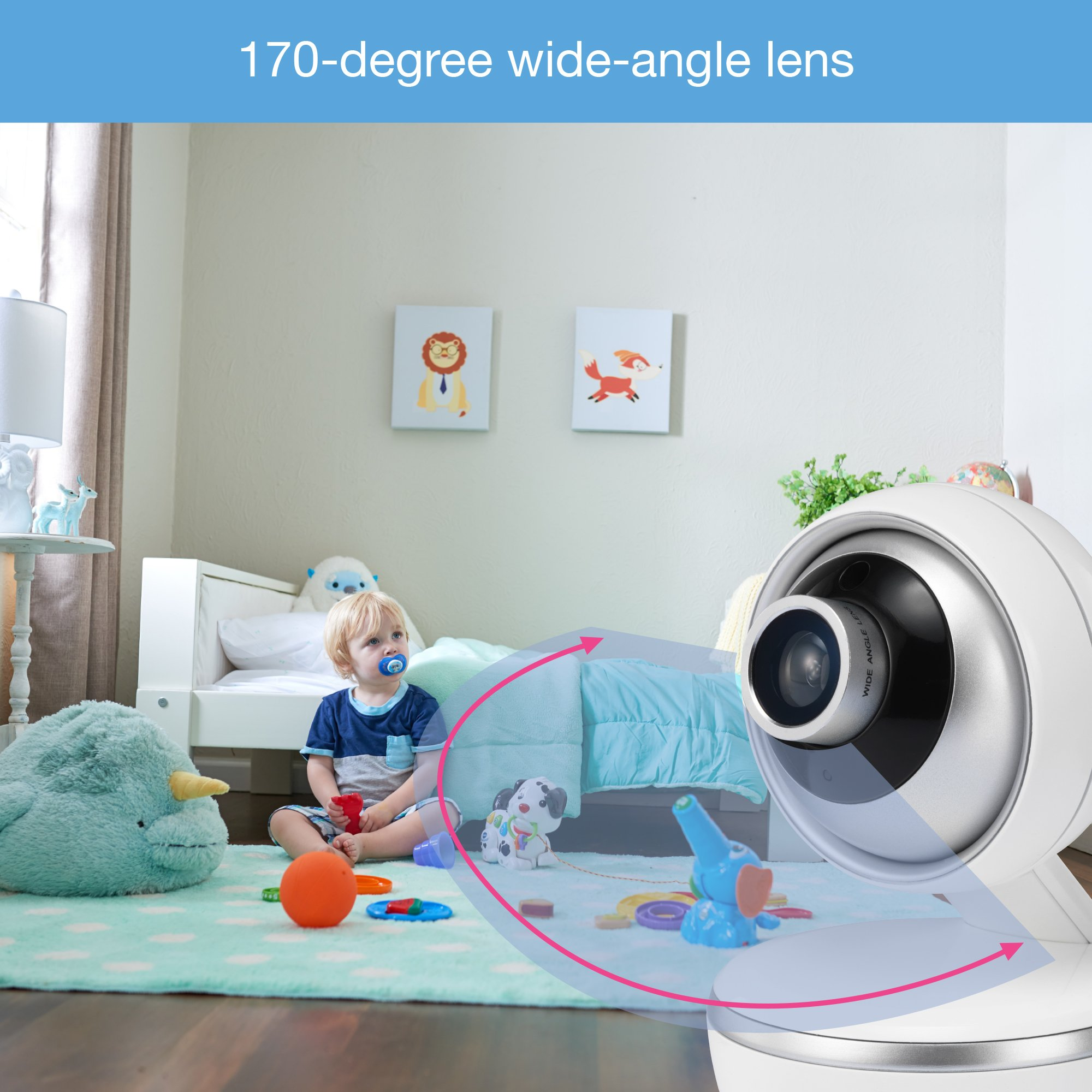 "VTech VM5261 5"" Digital Video Baby Monitor with Pan & Tilt Camera, Wide-Angle Lens and Standard Lens, White by VTech (Image #6)"