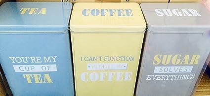 Retro Slimline Tea Coffee Sugar Storage Tins Blue Yellow
