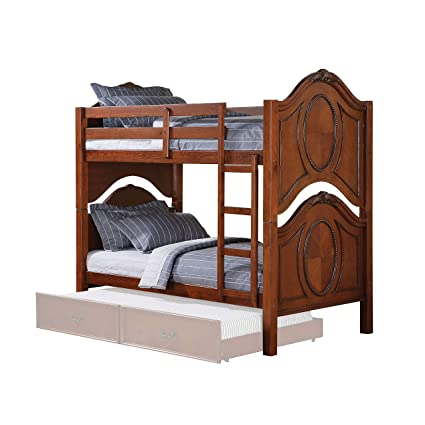 Amazon Com Homeroots Furniture Twin Twin Bunk Bed Cherry Pine
