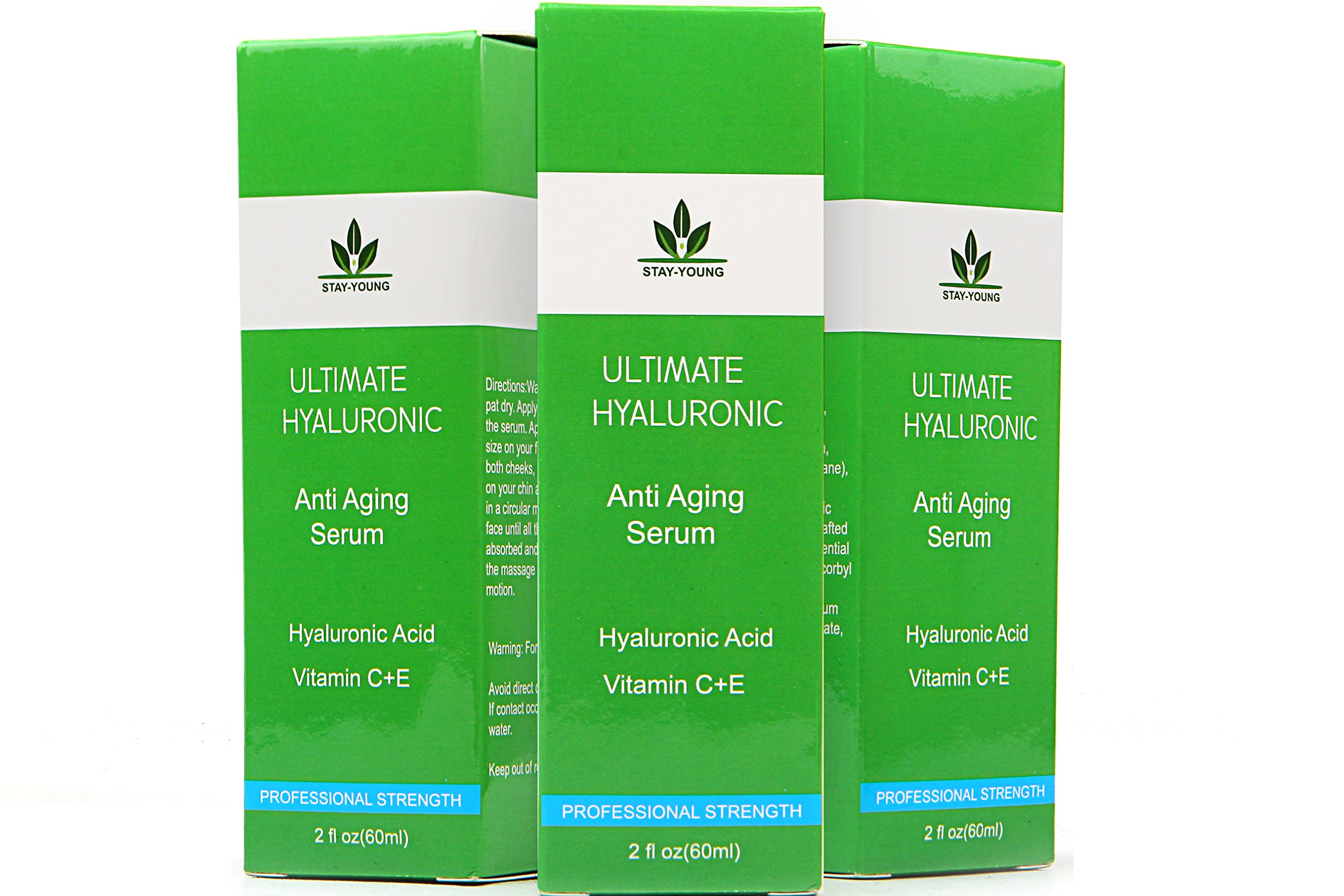 Hyaluronic Acid Face Serum - 60ML-DOUBLE SIZE BOTTLE - Jojoba Oil, Green Tea, Aloe Vera, Vitamin E, Vitamin C, Best Anti Ageing & Anti Wrinkle Serum - Organic Serum Hydrates & Brightens Skin, Reduces Dark circles, Fine Lines & Wrinkles, Eye