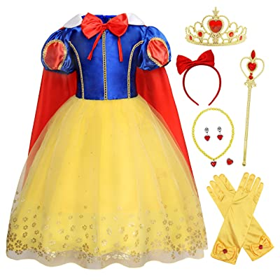 HenzWorld Princess Costume Dress Cape Birthday Party Cosplay Outfits Headband Jewelry Accessories Little Girls 1-8 Years: Clothing