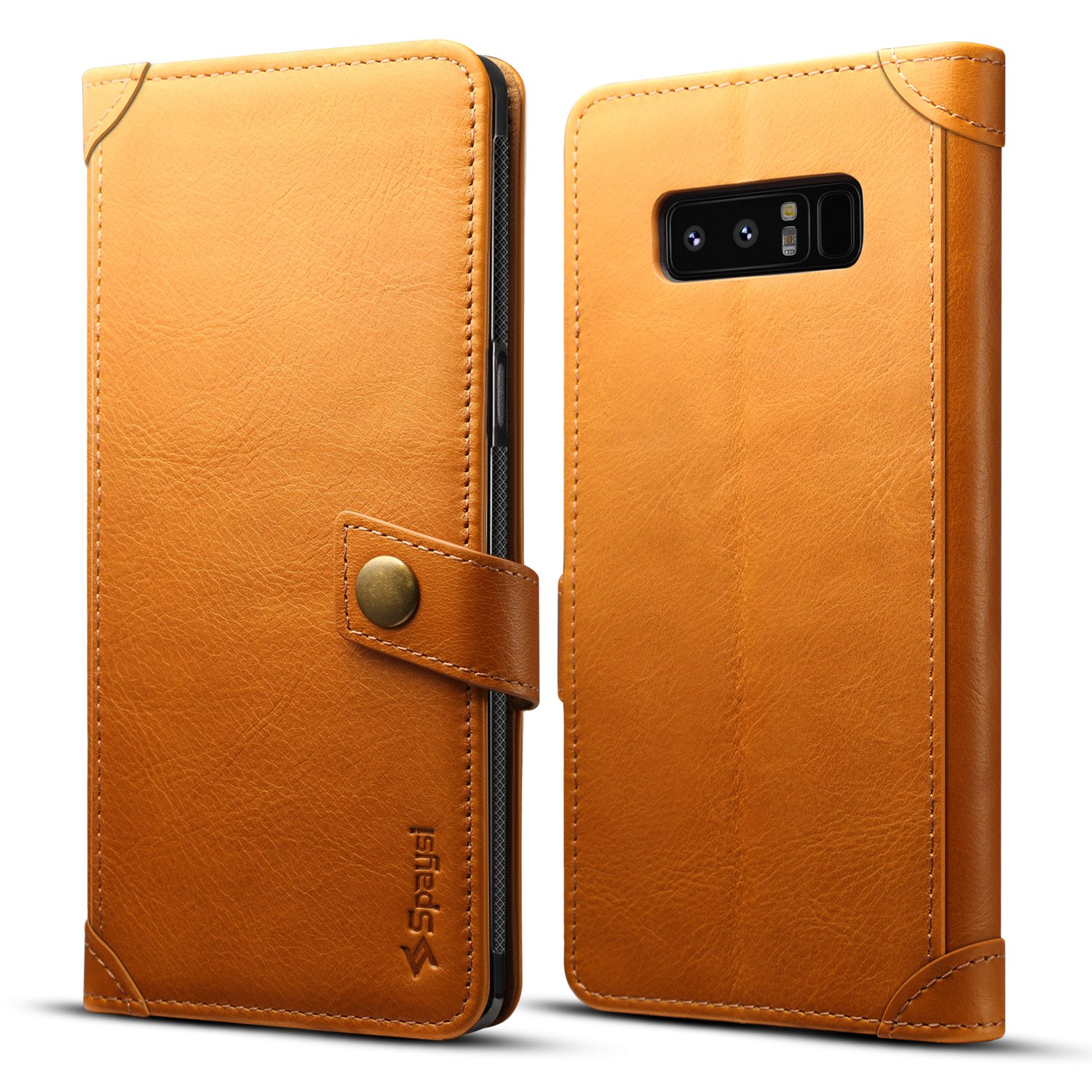 Spaysi Samsung Galaxy Note 8 Wallet Case Italian Genuine Leather Handmade Case for Note 8 Card Holder Case Slim Note 8 Flip Cover Case Book Style Note 8 Folio Case Magnetic Closure (Light Brown)