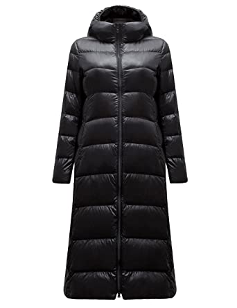 Yeokou Womens Lightweight Quilted Full Length Long Hoodie Down Puffer Parka  Coat fa8227bf44