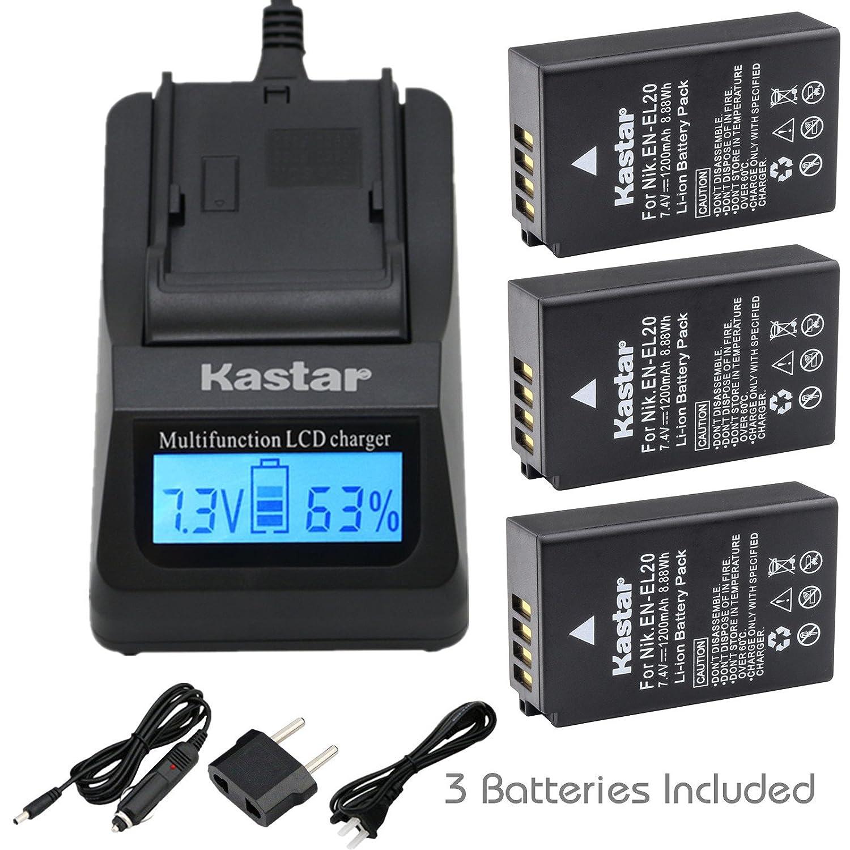 Kastar高速充電器キット、バッテリ( 3 - Pack ) for Nikon en-el20、en-el20 aとNikon Coolpix A、Nikon 1 aw1 , Nikon 1 j1 , Nikon 1 j2 , Nikon 1 j3 , Nikon 1 s1 , Nikon 1 V3、Blackmagic Pocket Cinema Camera   B015ZHOVMA