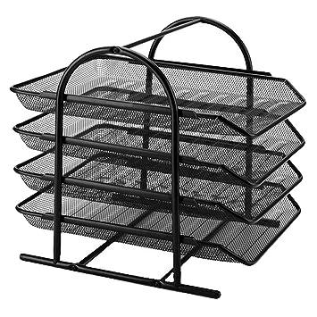 Soporte de malla de metal apilable para archivos, 4 niveles, bandeja organizadora para revistas
