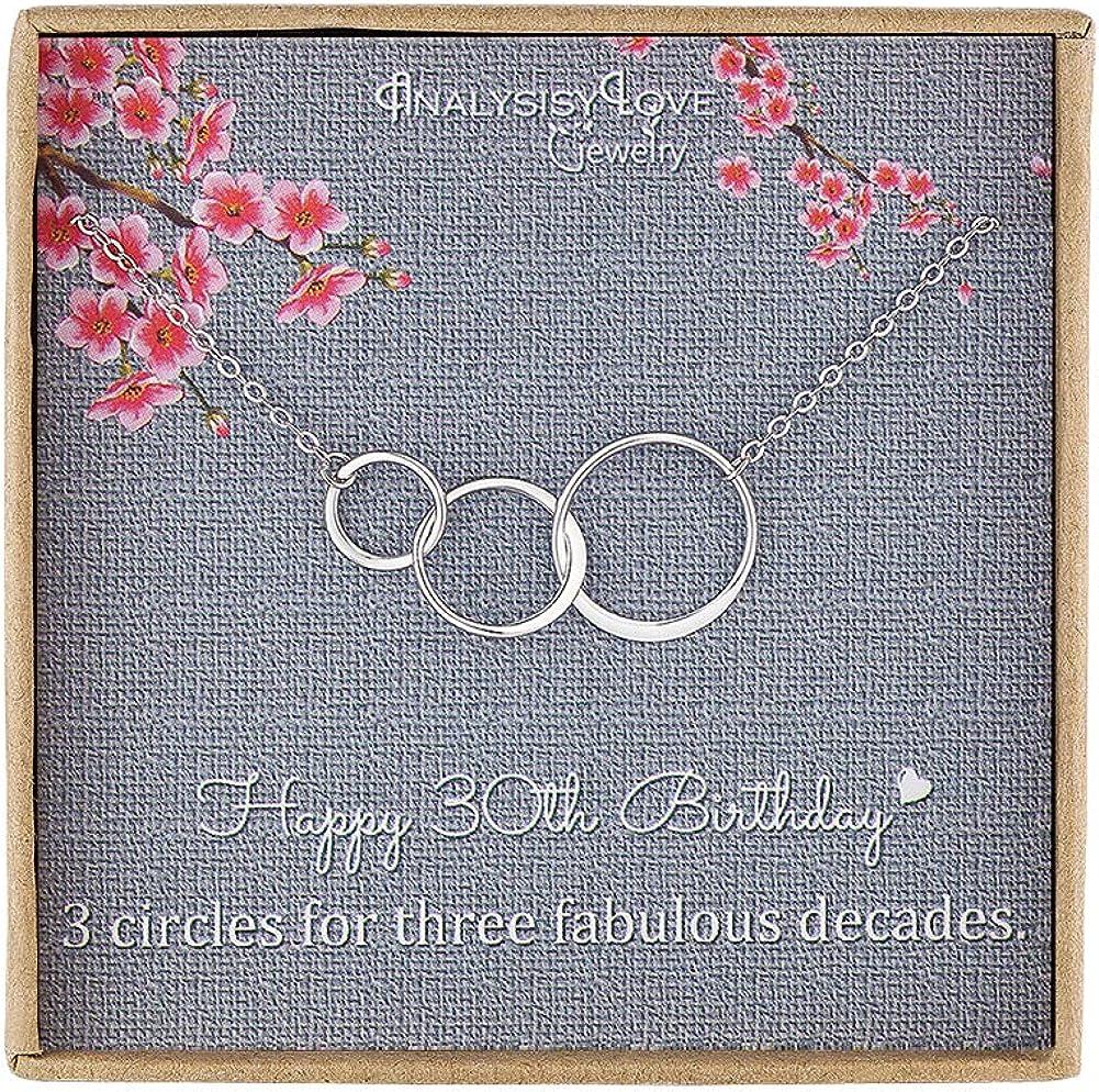Collar de plata de ley con 3 círculos de infinito para mujer de 3 décadas, 30 años de edad