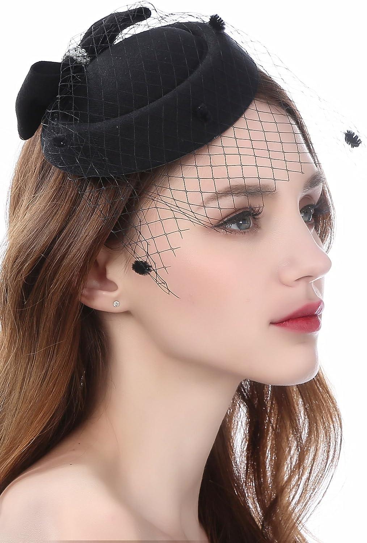 FEIBAO Tee-Party Faszinator Cappello a Molla molletta per Capelli Pillbox Cappello per Ragazza