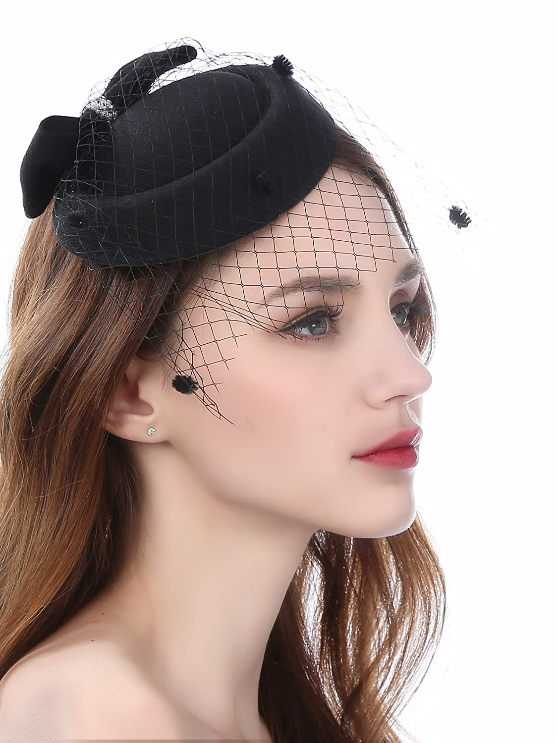 850faf27e3f Fascinator Pillbox Hats with Flower Veil Feather Hairclip Wedding Hats for  Women  Amazon.co.uk  Clothing