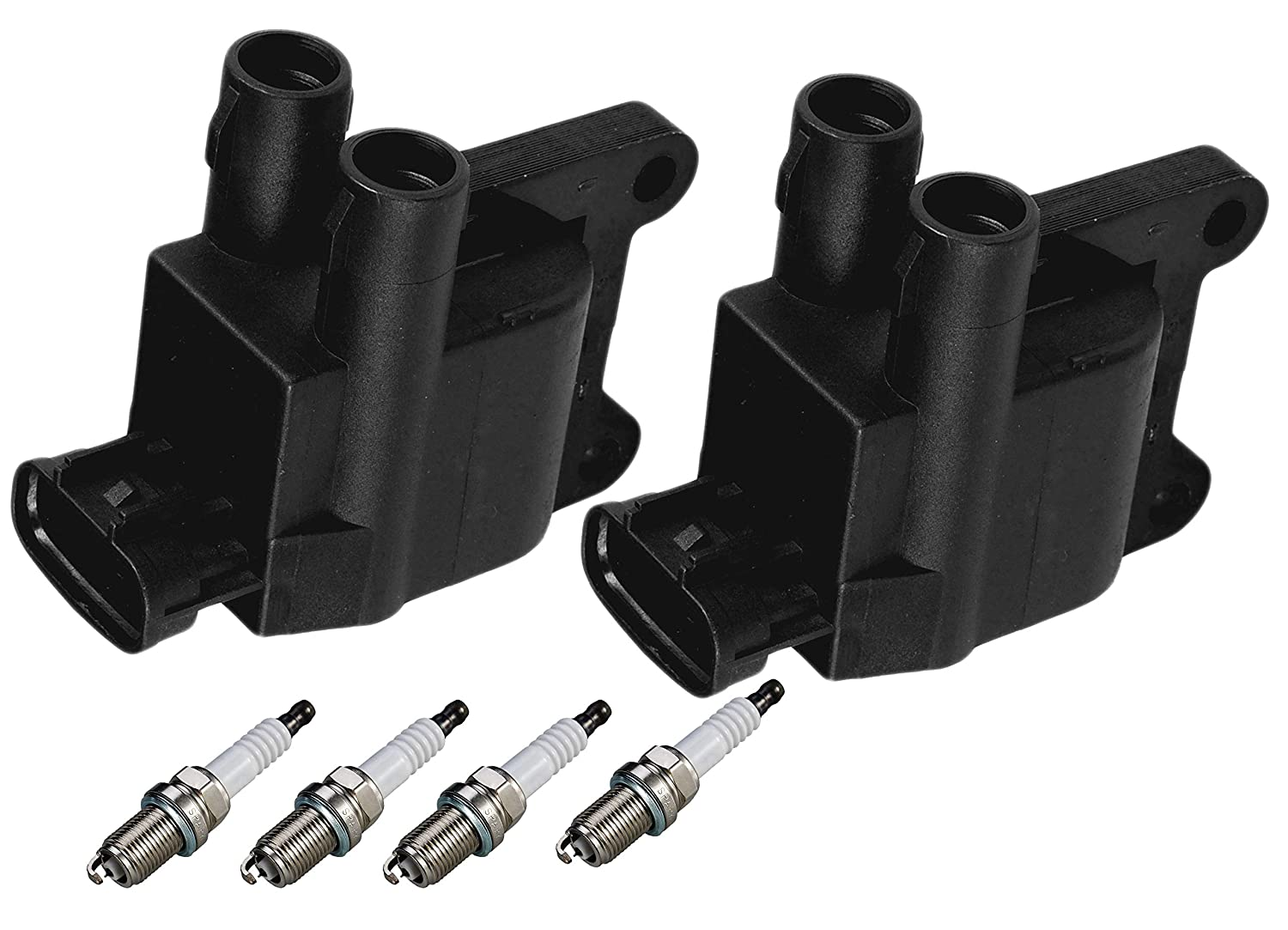 ENA Set of 4 Spark Plugs and 2 Ignition Coils for 1997-2001 Toyota Camry Rav4 Solara 2.0L 2.2L
