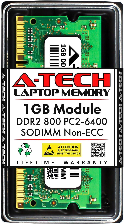 A-Tech 1GB DDR2 800MHz SODIMM PC2-6400 1.8V CL6 200-Pin Non-ECC Unbuffered Laptop RAM Memory Upgrade Module