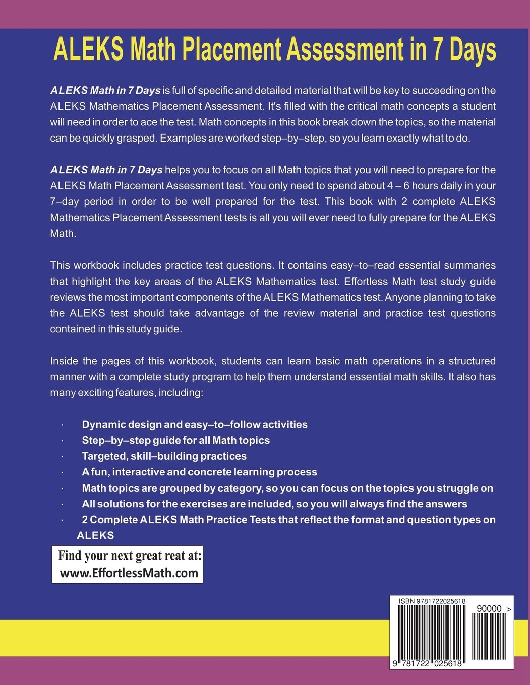 ALEKS Math Placement Assessment in 7 Days: Step-By-Step Guide to Preparing  for the ALEKS Math Test Quickly: Reza Nazari, Ava Ross: 9781722025618: ...