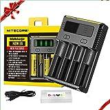 Nitecoer I4 Chargeur Piles , Chargeur de Batterie pour 18650, 18500, 18350, 17670, 17500, 16340, 14500, 10440 3.7V AA AAA 1.2V Rechargeable Batteries au Lithium