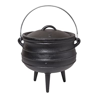 JMiles Cast Iron Potjie for Outdoor Fireplace Setting - Pre Seasoned Non Stick Heavy Duty Pot Cauldron Cookware with Lid and Handle for Camping & Open Fire Cooking (6.34 Quart)